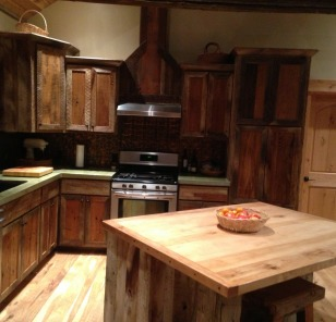 Custom Kitchen: Reclaimed Barnwood Cabinetry