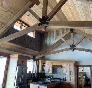 Timbers with custom truss brackets by Fury Metalworks