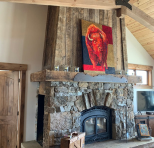 Custom Fireplace with Reclaimed Fir Mantle